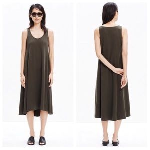 MADEWELL Midi Tank Swing Dress Ask Green Olive S